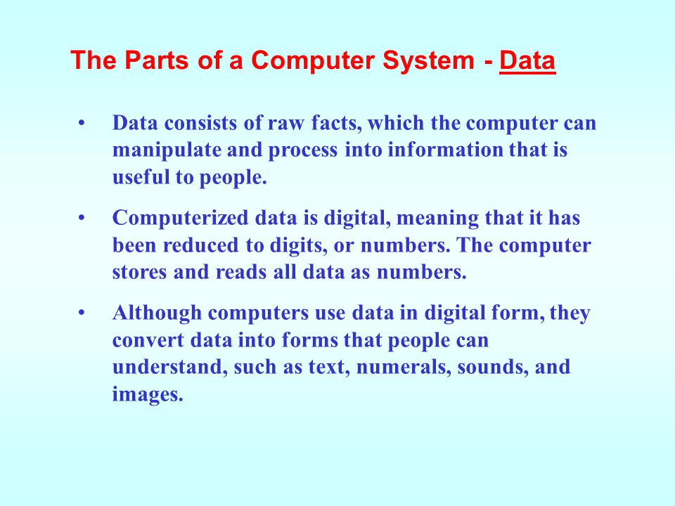 The Parts of a Computer System - Data