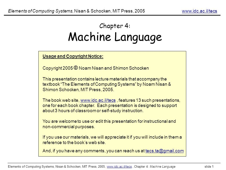 Chapter 4: Machine Language