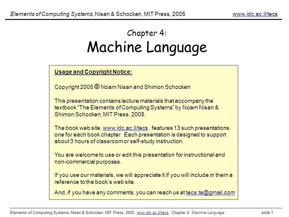 Chapter 4: Machine Language