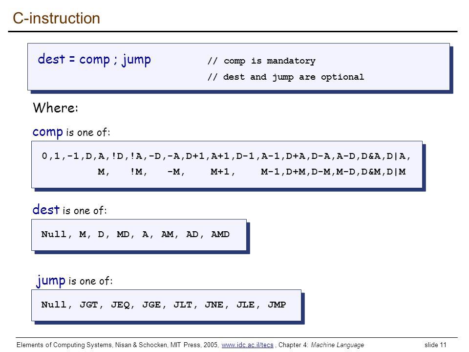 C-instruction dest = comp ; jump // comp is mandatory Where: