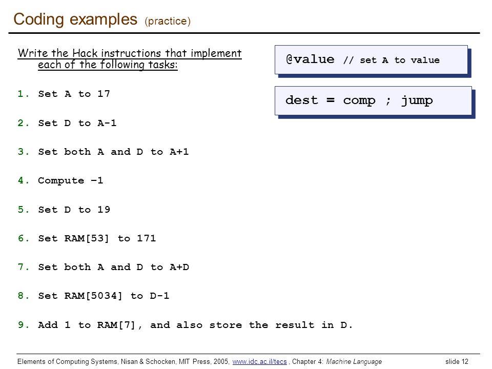Coding examples (practice)