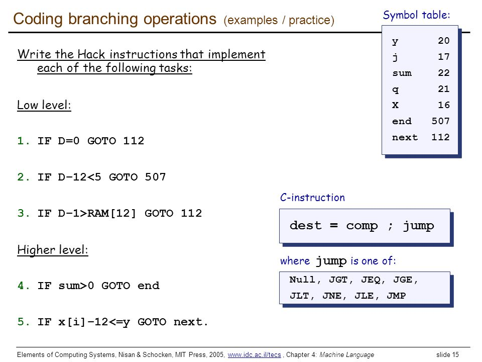Coding branching operations (examples / practice)