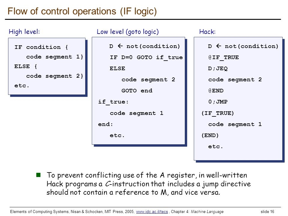Flow of control operations (IF logic)