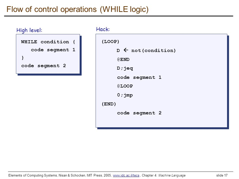 Flow of control operations (WHILE logic)