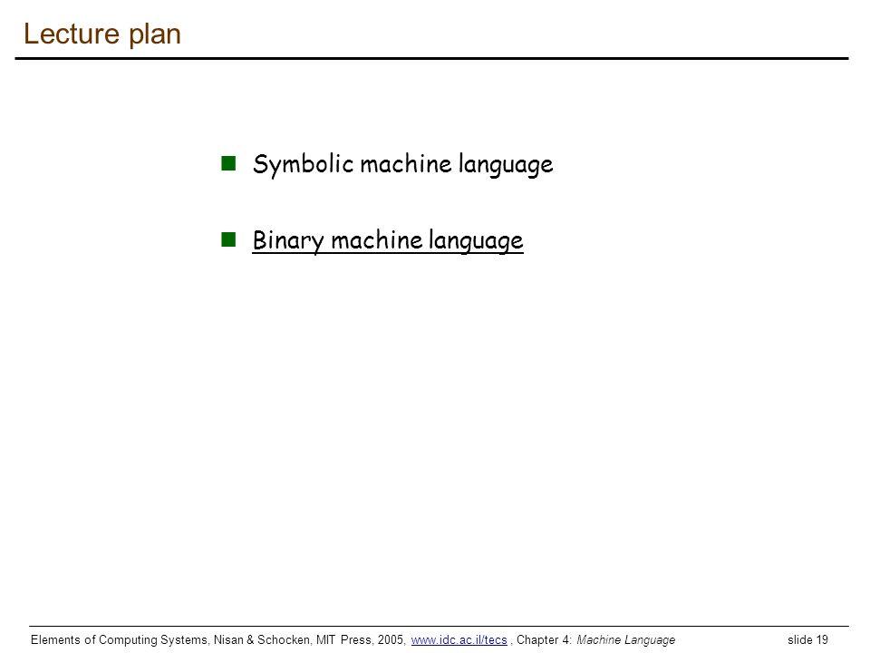 Lecture plan Symbolic machine language Binary machine language