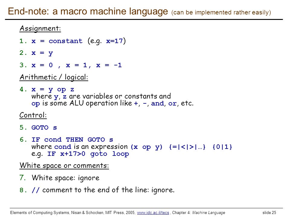End-note: a macro machine language (can be implemented rather easily)