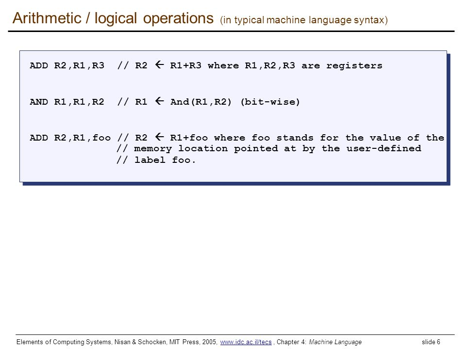Arithmetic / logical operations (in typical machine language syntax)
