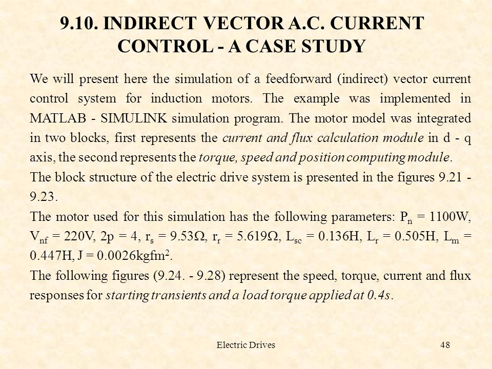 9.10. INDIRECT VECTOR A.C. CURRENT CONTROL - A CASE STUDY