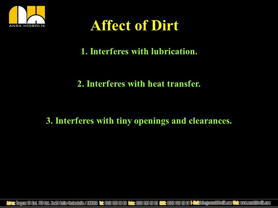 Affect of Dirt 1. Interferes with lubrication.