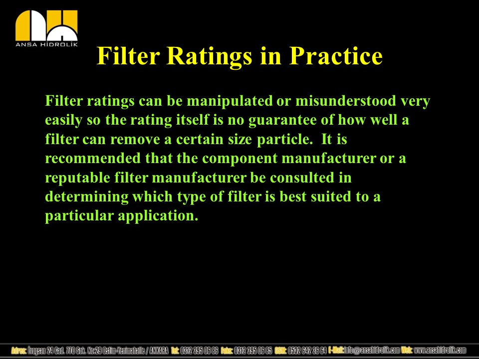 Filter Ratings in Practice