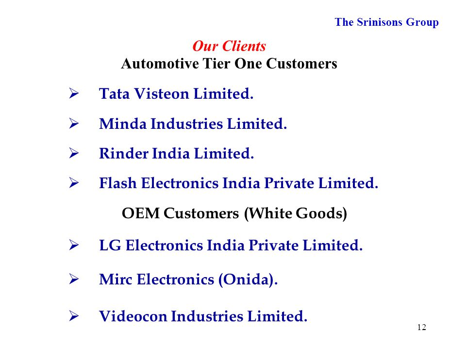 Our Clients Automotive Tier One Customers