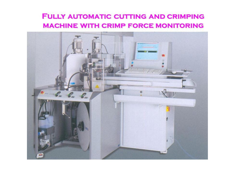 Fully automatic cutting and crimping machine with crimp force monitoring