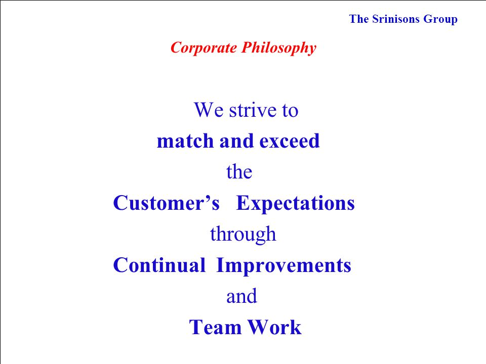 Customer's Expectations through Continual Improvements and Team Work