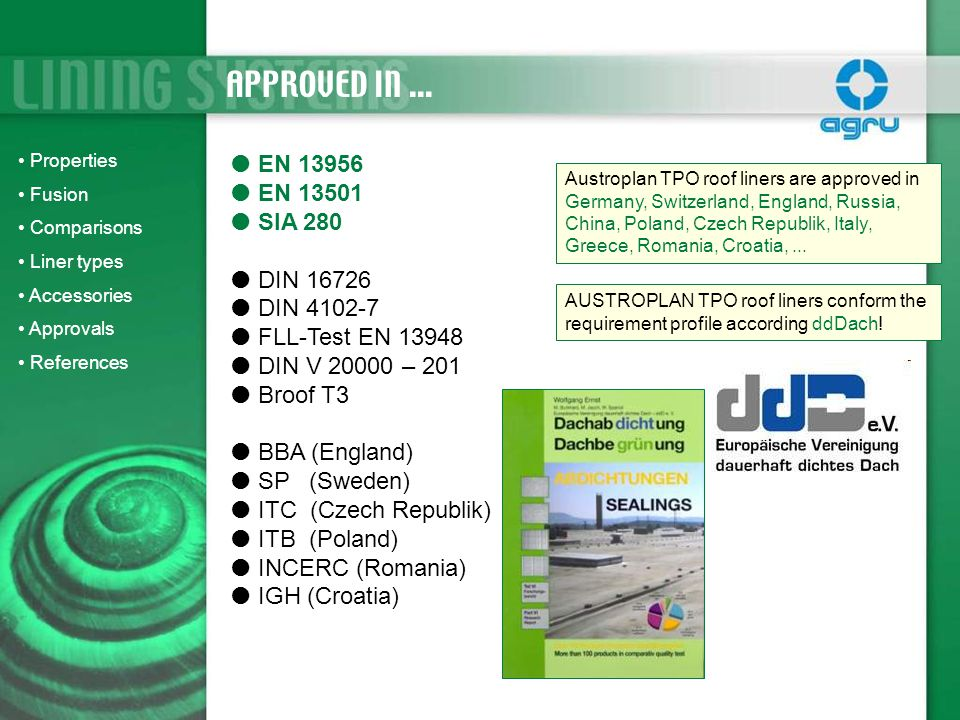 APPROVED IN ... EN 13956 EN 13501 SIA 280 DIN 16726 DIN 4102-7