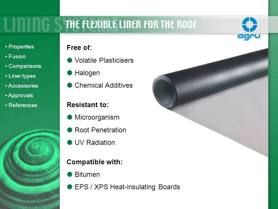 THE FLEXIBLE LINER FOR THE ROOF