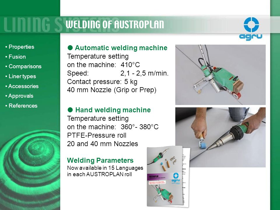 WELDING OF AUSTROPLAN Automatic welding machine Temperature setting
