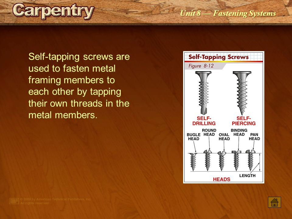 Self-tapping screws are used to fasten metal framing members to each other by tapping their own threads in the metal members.
