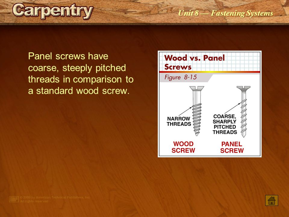 Panel screws have coarse, steeply pitched threads in comparison to a standard wood screw.