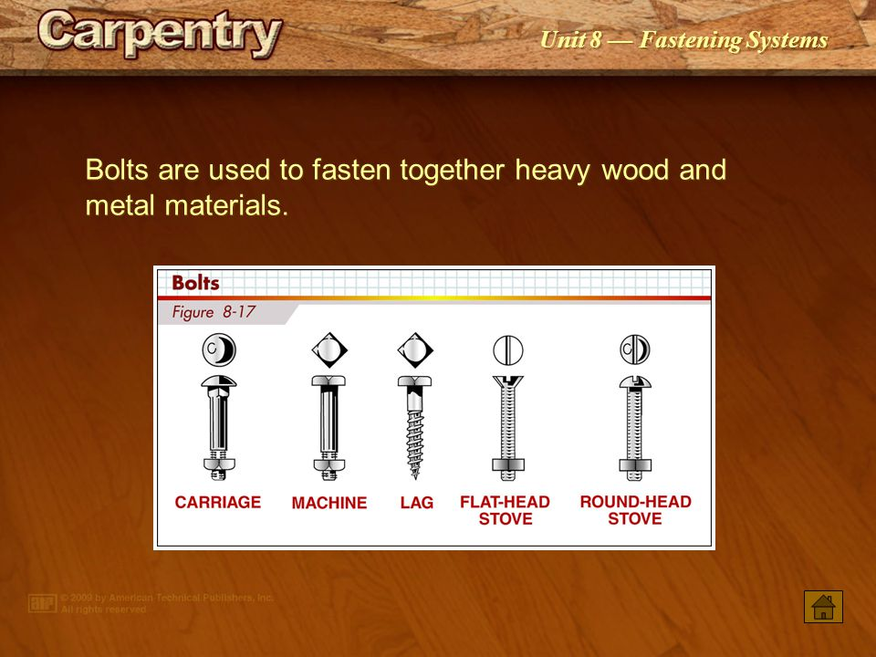 Bolts are used to fasten together heavy wood and metal materials.