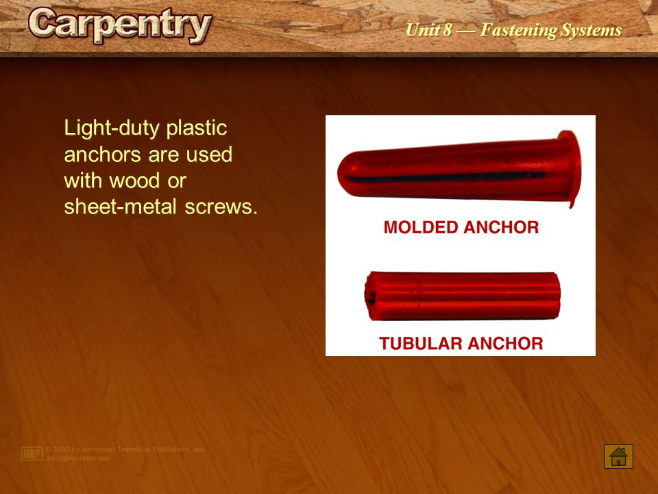 Light‑duty plastic anchors are used with wood or sheet‑metal screws.