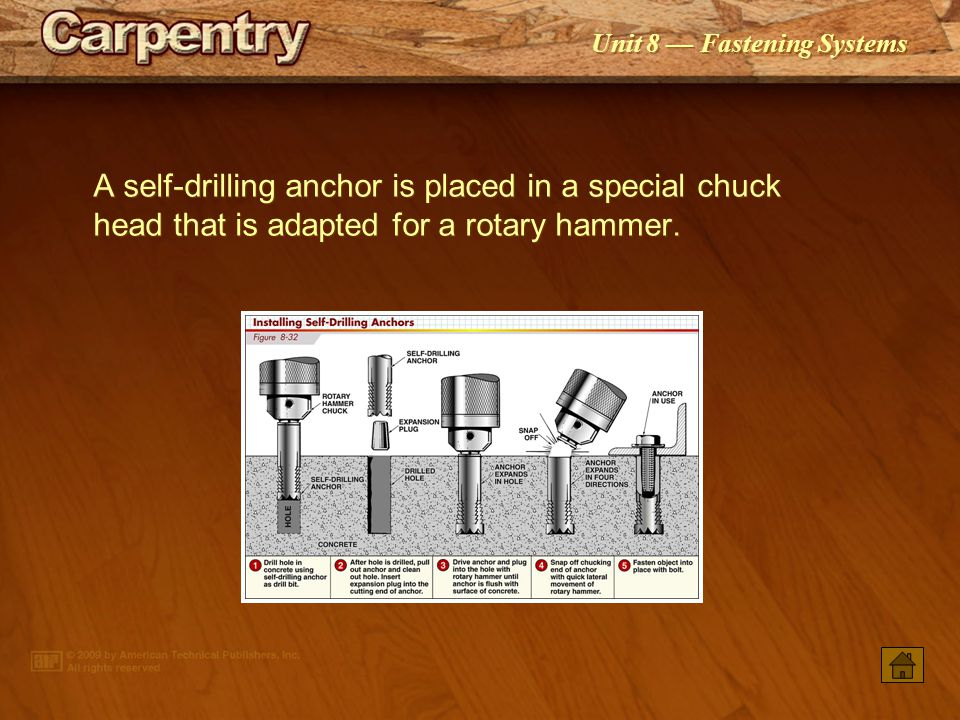 A self-drilling anchor is placed in a special chuck head that is adapted for a rotary hammer.
