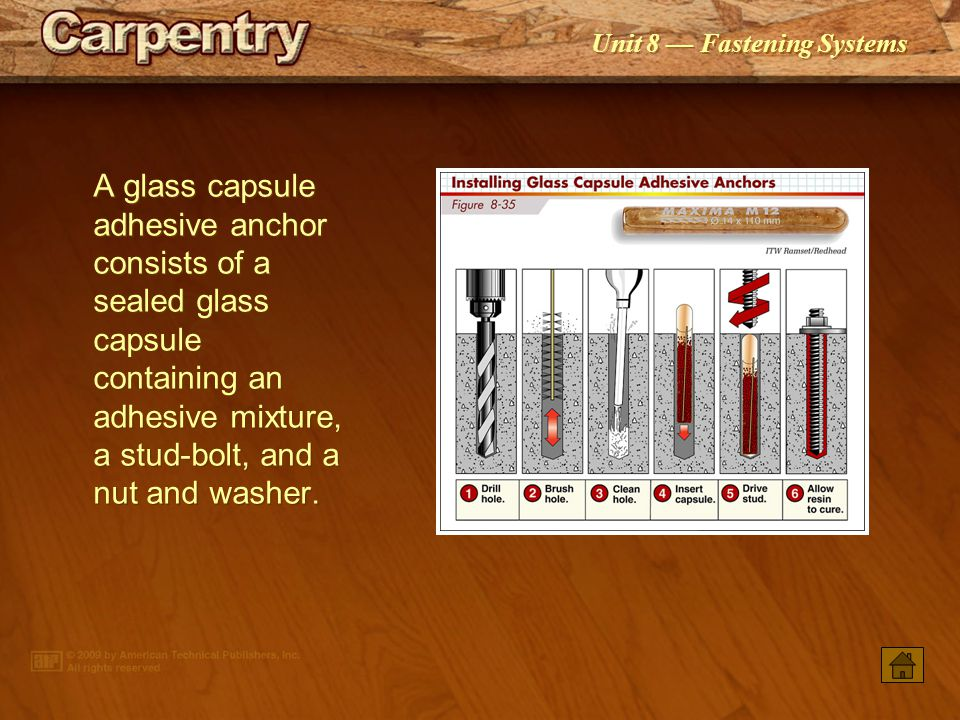 A glass capsule adhesive anchor consists of a sealed glass capsule containing an adhesive mixture, a stud-bolt, and a nut and washer.