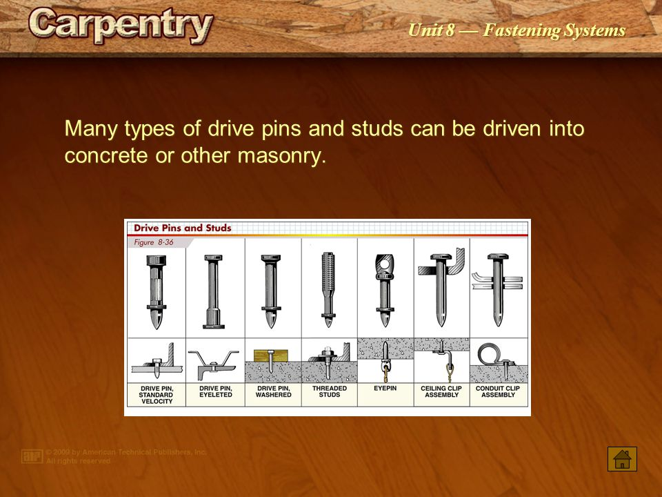 Many types of drive pins and studs can be driven into concrete or other masonry.