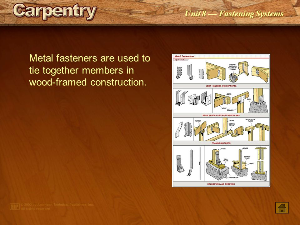 Metal fasteners are used to tie together members in wood‑framed construction.