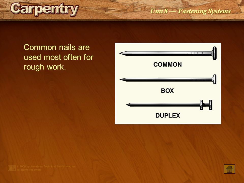 Common nails are used most often for rough work.
