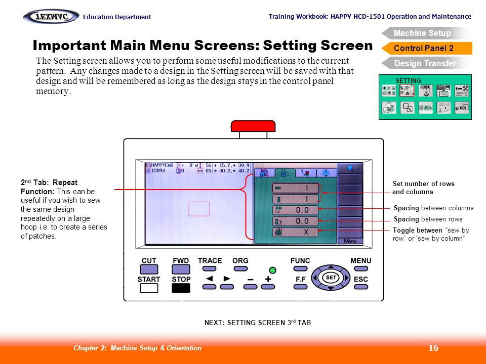 Important Main Menu Screens: Setting Screen