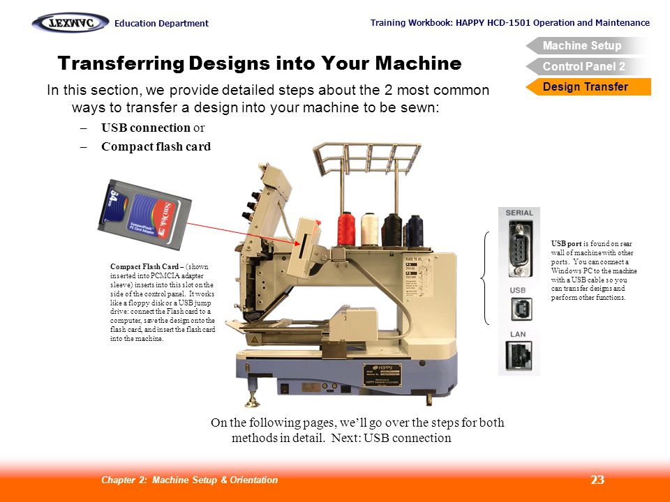 Transferring Designs into Your Machine