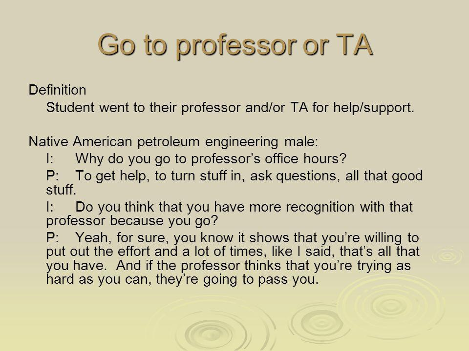 Go to professor or TA Definition