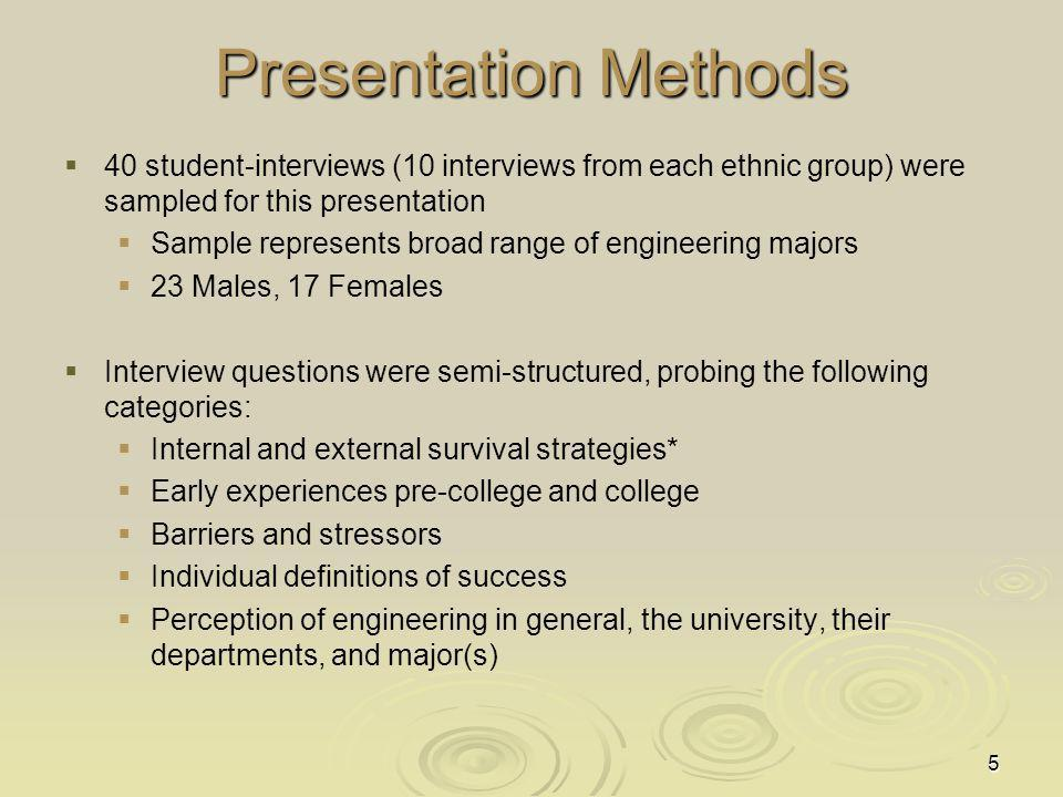 Presentation Methods 40 student-interviews (10 interviews from each ethnic group) were sampled for this presentation.