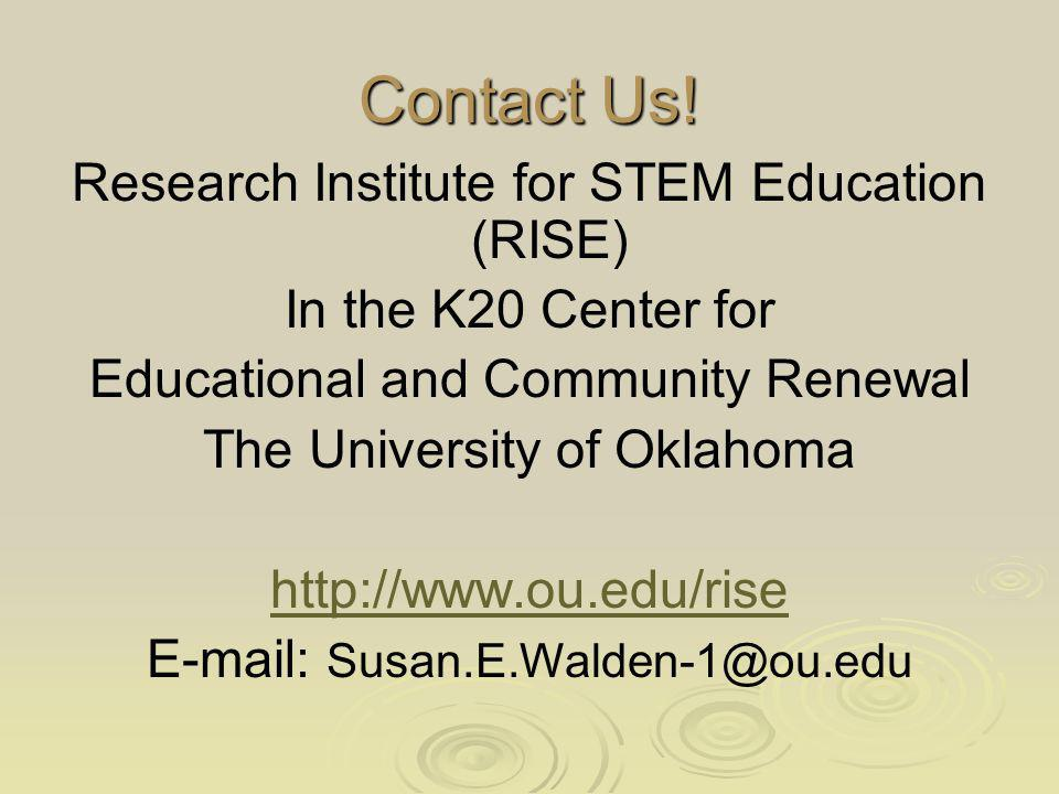 Contact Us! Research Institute for STEM Education (RISE)