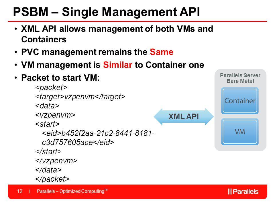 PSBM – Single Management API