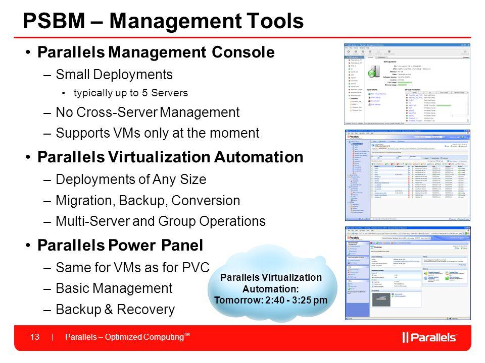 PSBM – Management Tools