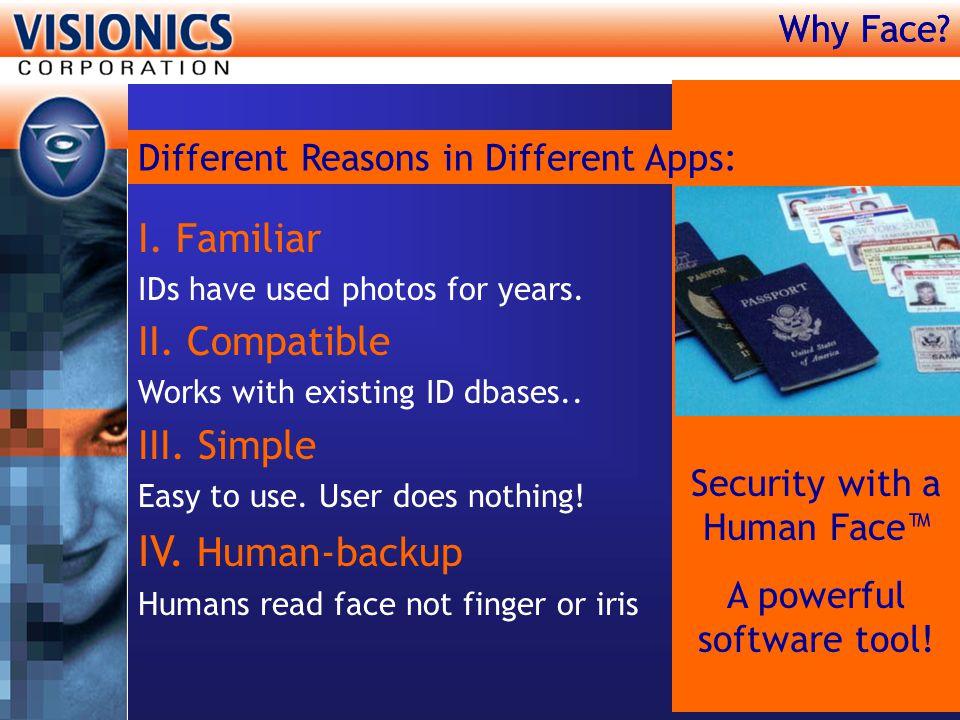IV. Human-backup I. Familiar II. Compatible III. Simple Why Face