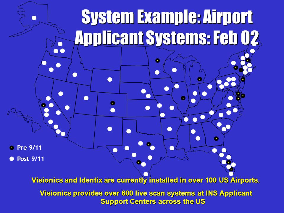 Visionics and Identix are currently installed in over 100 US Airports.