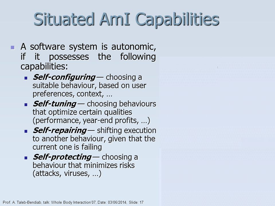 Situated AmI Capabilities