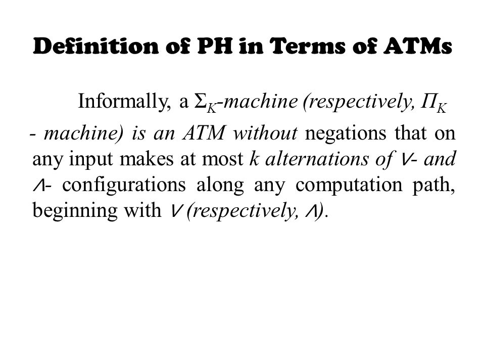 Definition of PH in Terms of ATMs
