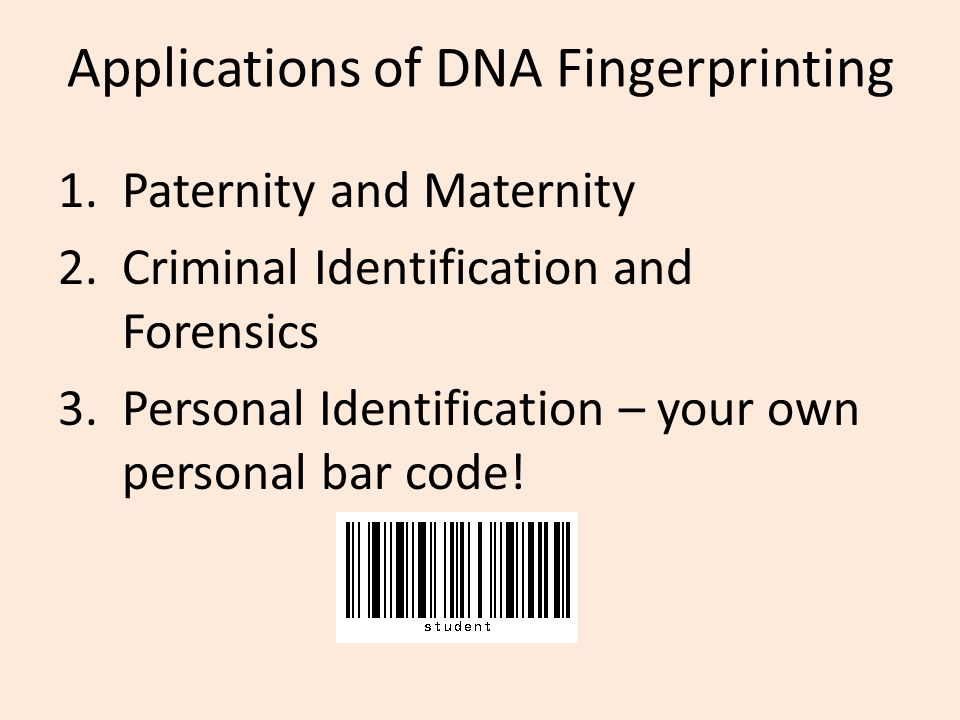 Applications of DNA Fingerprinting