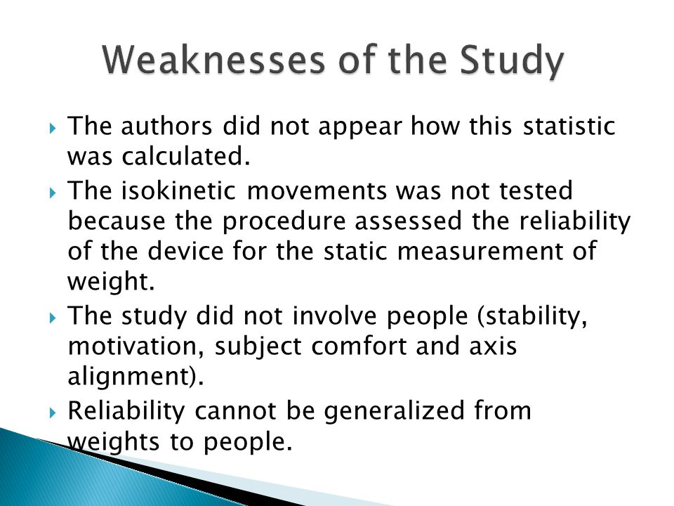 Weaknesses of the Study