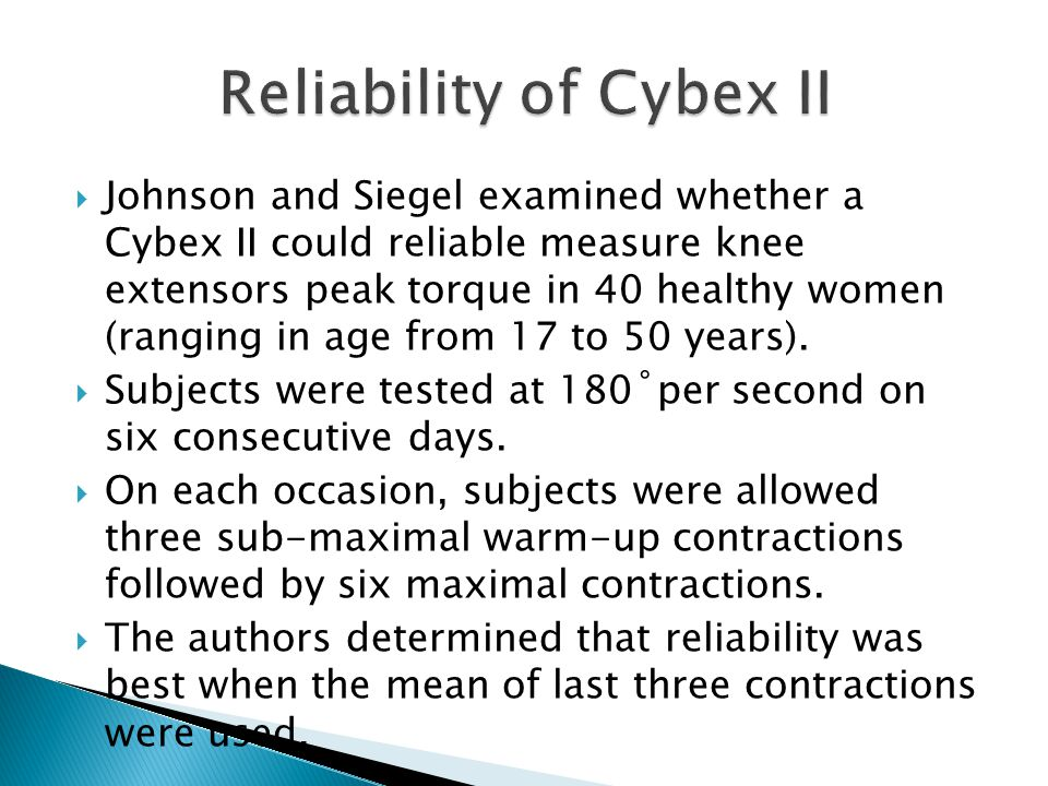 Reliability of Cybex II