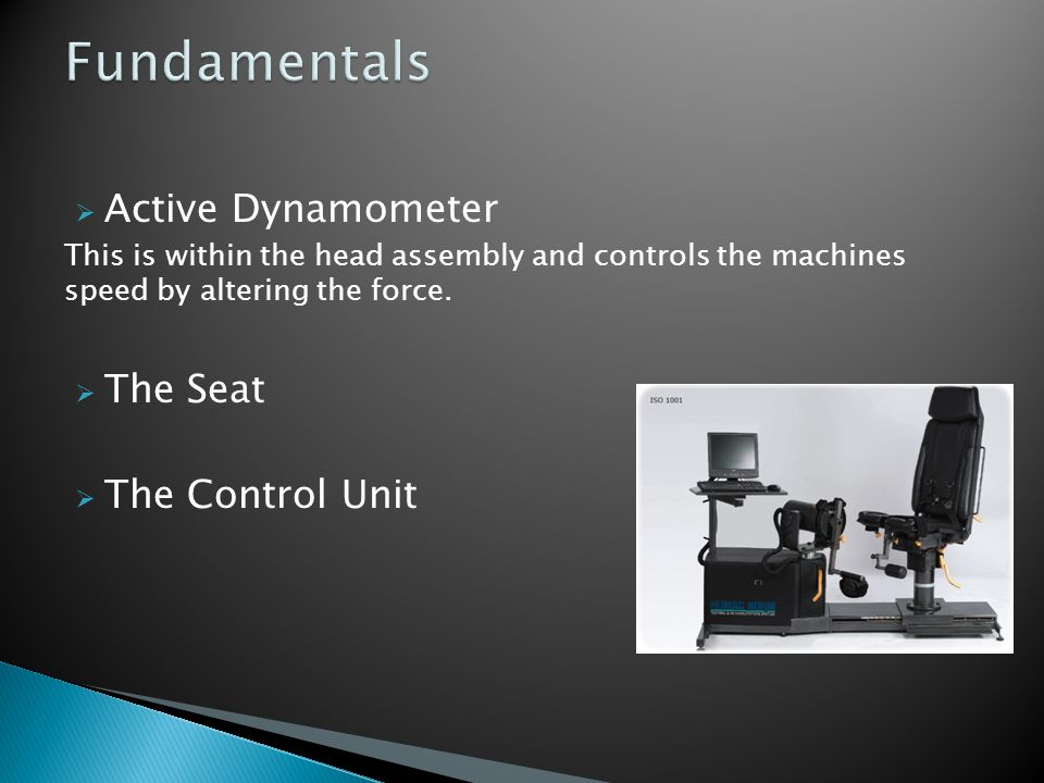 Fundamentals Active Dynamometer The Seat The Control Unit