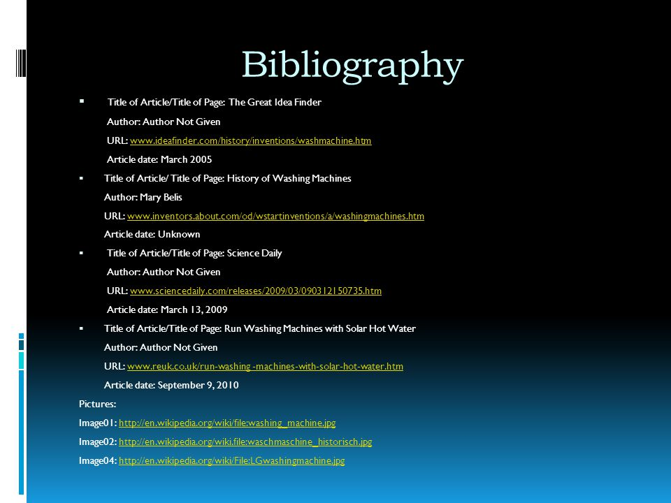 Bibliography Title of Article/Title of Page: The Great Idea Finder