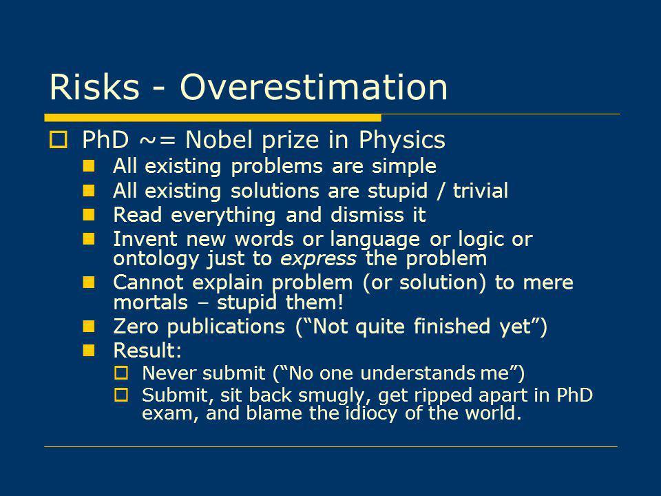 Risks - Overestimation