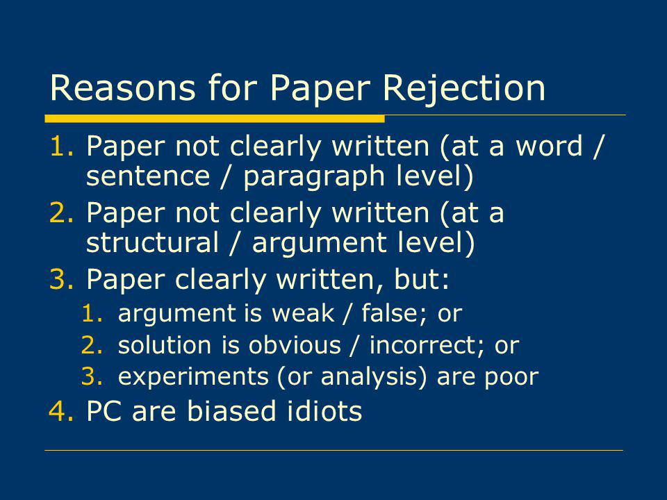 Reasons for Paper Rejection