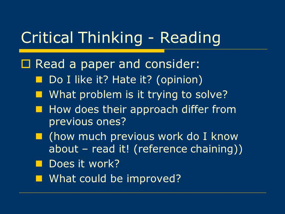 Critical Thinking - Reading