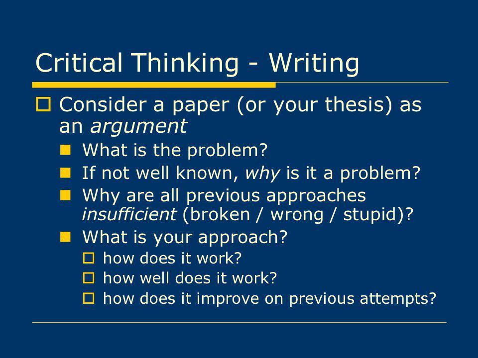 Critical Thinking - Writing