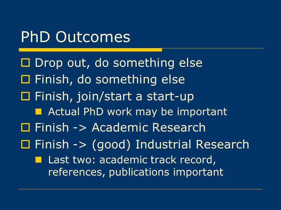 PhD Outcomes Drop out, do something else Finish, do something else